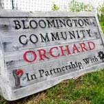 Bloomington Community Orchard sign